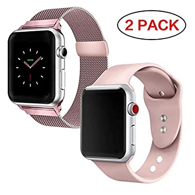 FanBandShop Compatible for Apple Watch Band 38mm 40mm 42mm 44mm,Milanese Loop Stainless Steel Mesh with Magnetic Clasp with Sport Silicone Replacement Band Compatible for iWatch Series 4,3,2,1