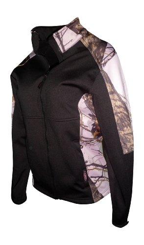 Mossy Oak Pink Snow Windproof Fleece Softshell Jacket Black Fits Womens S-3X (Mossy Oak Pink Snow & Black, Large) -
