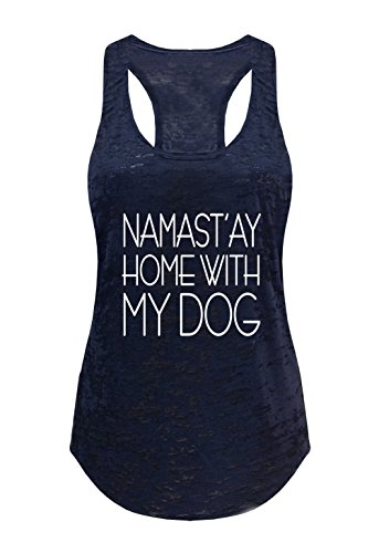 Tough Cookie's Women's Yoga Burnout Namastay At Home With My Dog Tank Top (Small – LF, Navy)