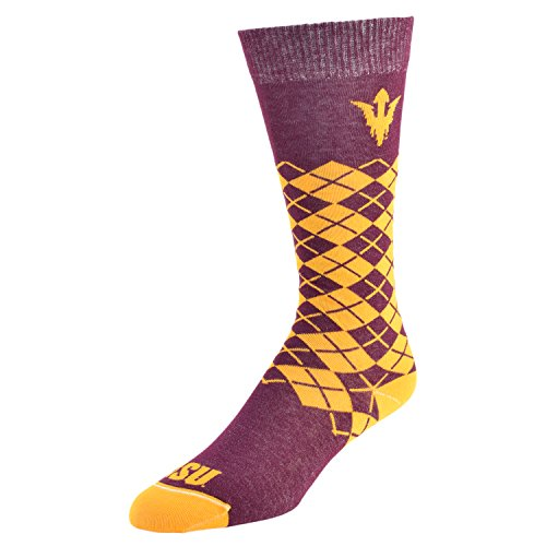 College Edition NCAA (Team) Uni-Sex Premium Made in The USA Knee High Dress Socks - Jersey Knit Argyle, Medium,Crimson ()