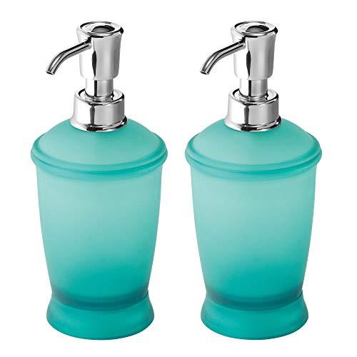 mDesign Modern Plastic Refillable Liquid Soap Dispenser Pump Bottle for Bathroom Vanity Countertop, Kitchen Sink - Holds Hand Soap, Dish Soap, Hand Sanitizer, Essential Oils, 2 Pack - Teal Blue/Chrome