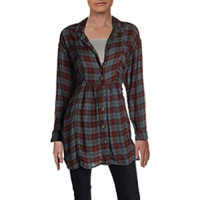 Free People Women's All About The Feels Plaid Button Down