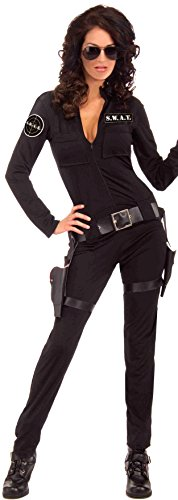 [Forum Novelties Women's Swat Sexy Woman Of Action Costume, Black, X-Small/Small] (Sexy Swat Team Costumes)