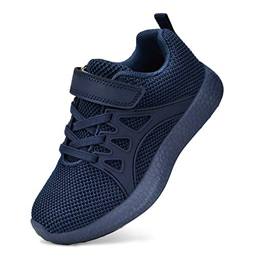 QANSI Child Kids Fashion Sneakers Ultra Lightweight Breathable Athletic Running Walking Casual Shoes Girls Boys Navy Blue 13M(US) Little Kid
