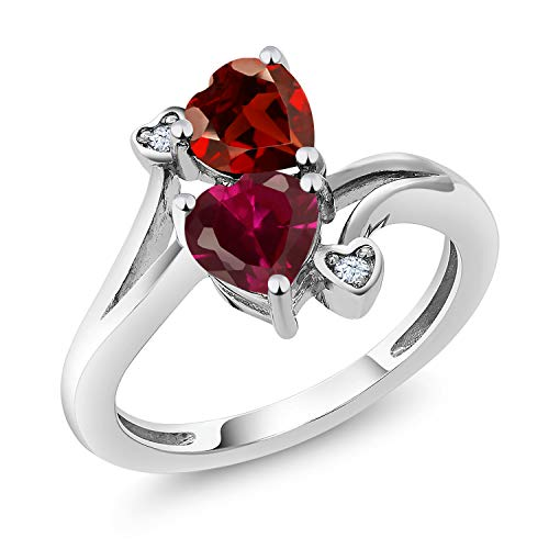 Gem Stone King 1.89 Ct Heart Shape Red Garnet Red Created Ruby 925 Sterling Silver Ring (Size 8)