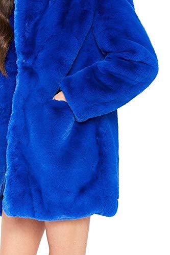 De Fashion Blau Mujer Manga Battercake Color Largo Largos Abrigos Chaqueta Outerwear Sintética Chaqueta Sólido Piel Casuales Invierno Mujeres Áspera De Caliente Elegantes Piel Piel Chaqueta Casual Mullido aq8F5FE