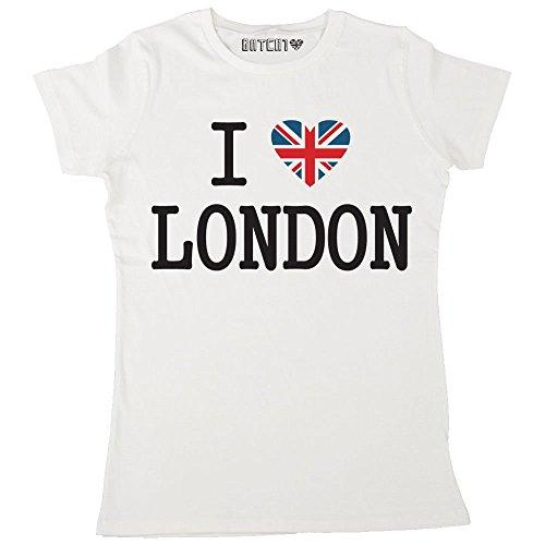(Batch1 Women's Ultimate I Love London Union Jack Heart British Printed T-Shirt Medium White)