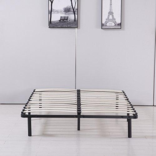 Bestmart INC Platform Metal Bed Frame Poplar Wooden Slat Support Easy To Assemble (Double)