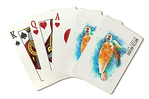 Diego Garcia, Indian Ocean - Sea Turtle - Watercolor (Playing Card Deck - 52 Card Poker Size with Jokers)