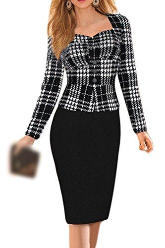 Vestito Black Piazza Vecchio Elegante Formale Matita Donna Collo Scozzese Slim Ufficio q5vt8nS4