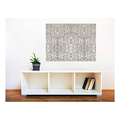 Wall26 Removable Wall Sticker/Wall Mural - Seamless Silver Lace Flowers and Leaves | Creative Window View Home Decor/Wall Decor - 36