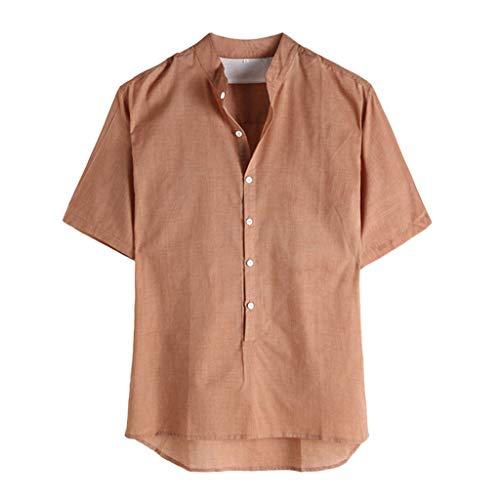 kemilove Men Linen Shirt Summer Beach Banded Collar Short Sleeve Button Down Casual Loose Fit T Shirt Khaki