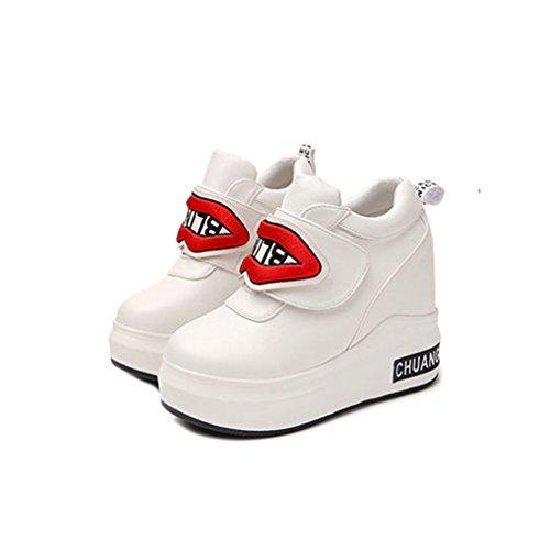 Giy Zapatillas Casual Altas Para Mujer Zapatillas De Deporte De Cuña De Gancho Y Bucle Zapatos Ocultos De Suela Gruesa De Tacón Blanco