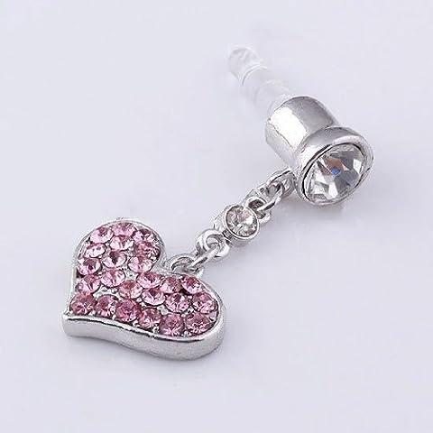 Generic Universal 3.5mm Crystal Heart Dangle Anti Dust Earphone Jack Plug Stopper Pink - Jack Heart Charm