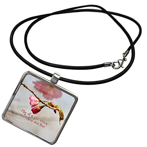 3dRose Alexis Design - Holidays Easter Greetings - May All Your Dreams and Wishes Come True. Good Wishes, Sakura Buds - Necklace with Rectangle Pendant (ncl_308152_1)