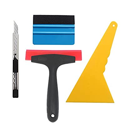 EEFUN 4 in 1 Installation Tool Kit for Car Window Wrapping Tint Vinyl with Utility Knife,Fiber Edge Squeegee, Rubber Silicon Squeegee,and Hard PP Scraper: Automotive