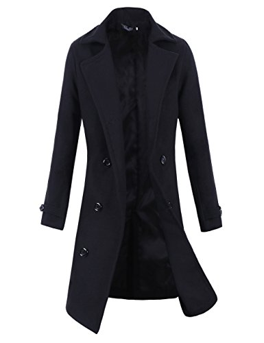 Lende Men Trench Coat Winter Long Jacket Double Breasted Overcoat (2XL, Black)