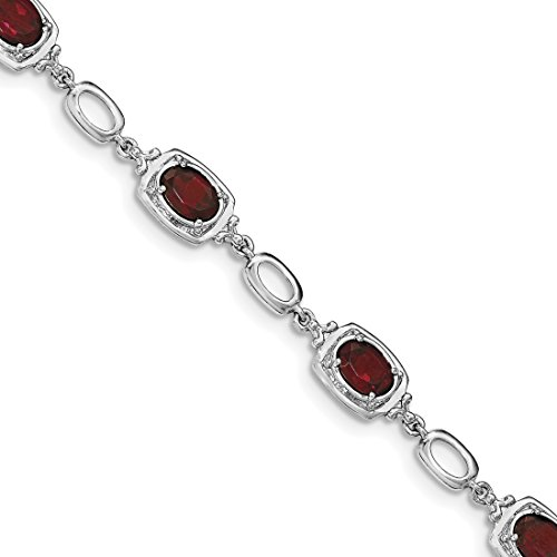 ICE CARATS 925 Sterling Silver Red Garnet Link Bracelet 7.50 Inch Gemstone by ICE CARATS