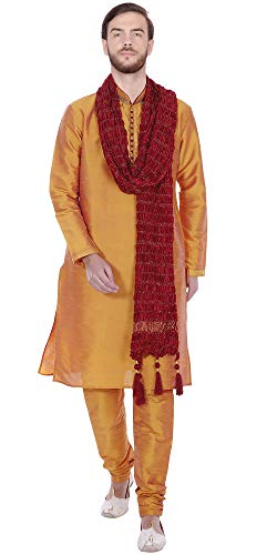 (SKAVIJ Men's Tunic Ethnic Wear Kurta Pyjama and Stole Set (Large, Gold))