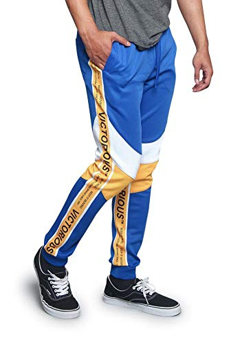 Victorious Men's Text Dual Stripe Triple Tone Moto Style Knee Cuffed Ankle Hem Premium Drawstring Track Pants TR549 - Royal Blue - Large - DD8C (The Best Text Tones)