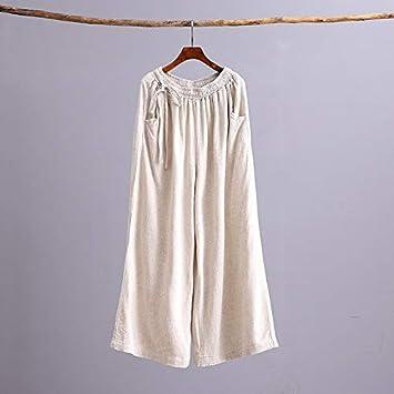 KTKZSS Mujeres Pantalón de Lino de algodón Pantalón Ancho Pantalón de Cintura elástica Color sólido Vintage Tallas Grandes Pantalones de Mujer Un tamaño Beige: Amazon.es: Deportes y aire libre