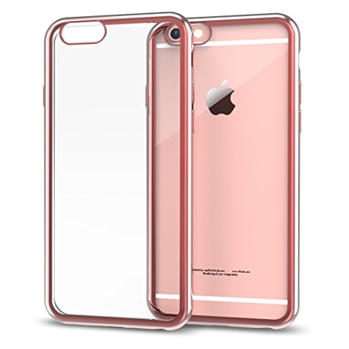 - iPhone SE Case, Splaks [Rose Gold] Extra Shock-Absorb Clear Back Panel+Rose Gold Metal Plating Frame, Extreme Lightweight Soft Flexible Silicone Rubber Anti-Scratch Protective Case for iPhoneSE/5/5S