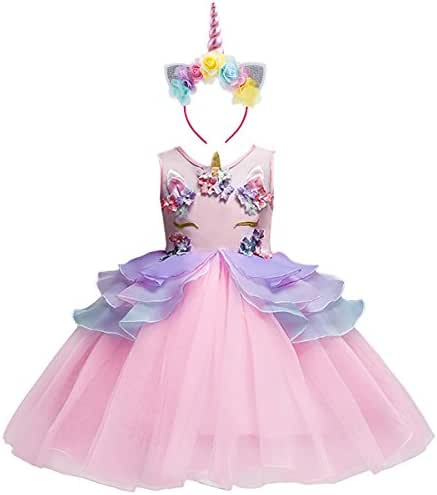 IBTOM CASTLE Baby Girls Flower Mythical Costume Cosplay Princess Dress up Birthday Pageant Party Dance Outfits Evening Gowns