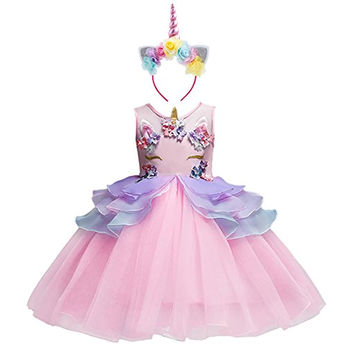 Little Girls Kids Flower Unicorn Birthday Halloween Cosplay Fancy Costume Tutu Dress up Lace Tulle Pageant Party Princess Dance Evening Gown Outfits Clothes Pink & Headband 3-4