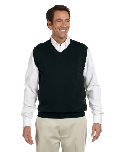 Devon & Jones Men's Full Fashioning Lighter Weight V Neck Vest, BLACK, X-Large