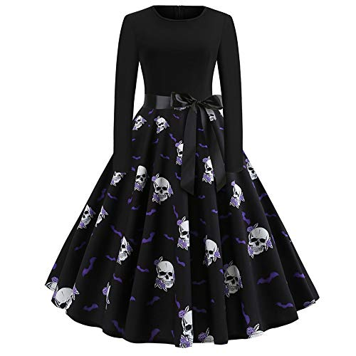 TOTOD Fashion Women's Vintage Print Long Sleeve Evening Dress- Ladies Halloween Party Swing Dress (Black -1, XXL) -