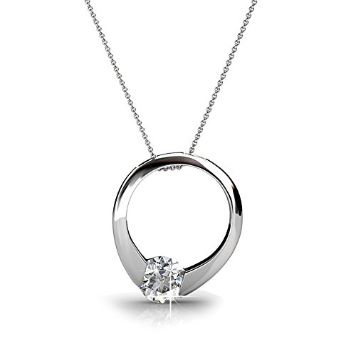Cate & Chloe Dahlia 18k White Gold Plated Pendant Necklace with Swarovski Crystals, Silver Round Cut Solitaire Diamond Ring Necklace for Women, Anniversary Necklace - (Jean Jacket Costume Ideas)