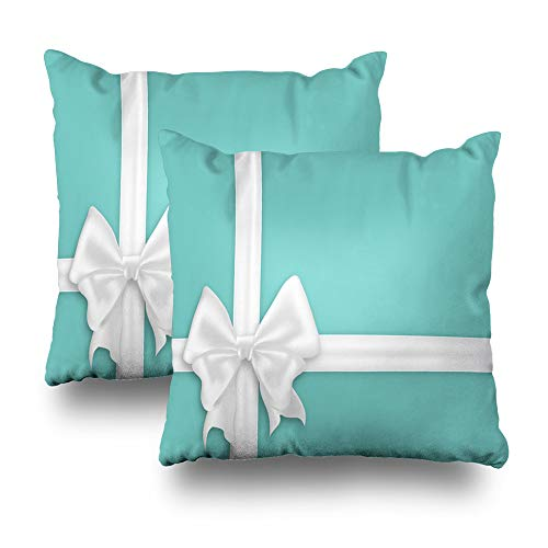 - KJONG Set of 2 White Bow Silk Ribbons Elegant Satin Bow Turquoise Blue Gift with Space Blue Square DecorativePillow Case 20 x 20inch Zippered Pillow Cover for Bedroom Living Room(Two Sides Print)