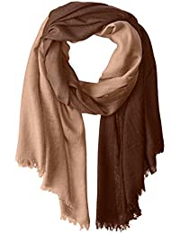 Women's Cashmere Blend Lightweight Ombre Scarf with Fringe