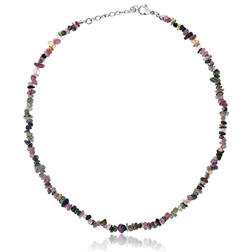 (Gem Stone King Women's Tourmaline Stone Chip 17inches Necklace with 1inches Extender)