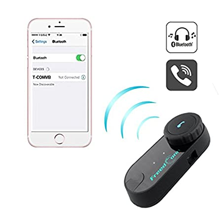 Amazon.com: Motorcycle Helmet Bluetooth Speakers FreedConn T-COMVB Motorcycle Intercom Bluetooth Headset for Motorbike Skiing Range-800M/2-3Riders ...