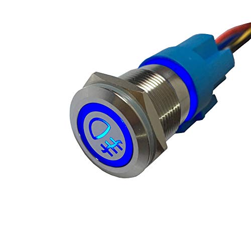 ESUPPORT 12V Car Vehicle Blue LED Light Fog Push Button Metal Toggle Switch Socket Plug 19mm Wire
