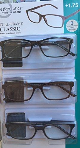 Design Optics Full Frame Classic Reading Glasses +1.75 (3 count, includes - Glasses Optics Design
