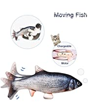 "10""Electric Moving Cat Kicker Fish Toy, Realistic Flopping Fish, Wiggle Fish Catnip Toys, Motion Kitten Toy, Plush Interactive Cat Toys, Fun Toy for Cat Exercise"