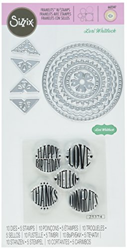 Sizzix Framelits Die Set 10-Pack with Stamps, Circle Sentiments by Lori Whitlock, Multicolor (Sentiments Stamps Circles)