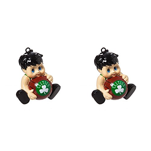 NBA Boston Celtics Lil Fan Team Christmas Ornament Bundle 2 Pack By Evergreen by Forever Collectibles