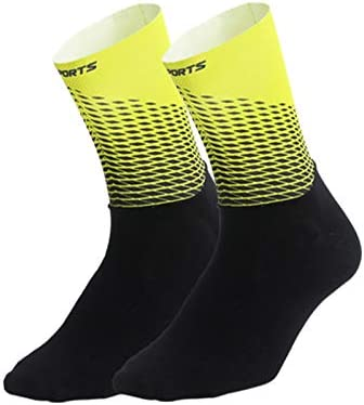 Hiland Cycling Compression Socks,Unisex Breathable Half Length Socks for Road Racing 1 Pair