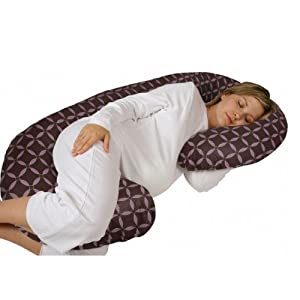 Snoogle Chic - Snoogle Total Body Pregnancy Pillow with Easy-off Zippered Cover - 100% Cotton Brown & Lilac Circles
