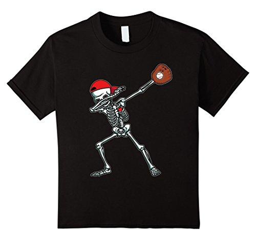 Kids Dabbing Skeleton Baseball T-Shirt Dab Hip Hop Skull Gift 12 Black