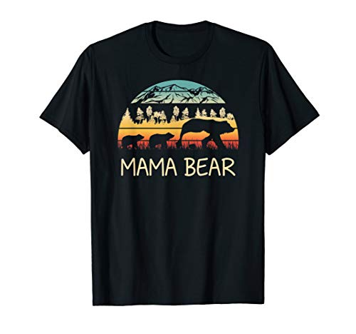 (Mama Bear with 3 Cubs Shirt Retro Mountains Mother's Day)