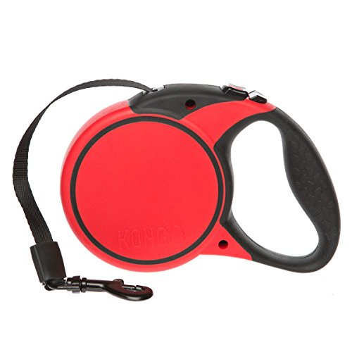 KONG Essential Tape Retractable Dog Leash small 16ft for dogs up to 45lbs black/red