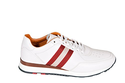 Sneakers in Pelle Bianca Bianco Uomo