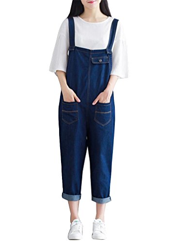 Guiran Mujer Monos de mezclilla Pantalones de pantalones de harén Sin Mangas Jumpsuits Azul