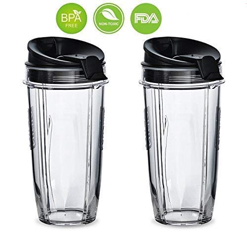 BLEND PRO Replacement Nutri Ninja 24 oz Cup with Sip & Seal Lid - For Blender BL450 BL454 Auto-iQ BL480 BL481 BL482 BL687 (2-Pack) (Cup Blender Ninja)
