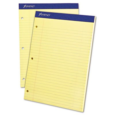Double Sheet Pad, Legal/Legal Rule, 8-1/2 x 11-3/4, Canary, Perfed, 100 Sheets, Total 36 PD, Sold as 1 Carton by Ampad
