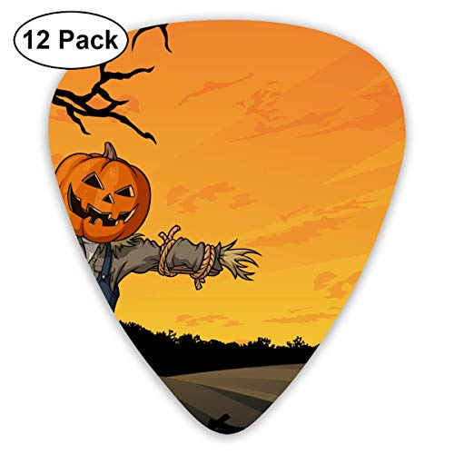 Anticso Custom Guitar Picks, Happy Halloween Pumpkin Lantern Scarecrow Raven Guitar Pick,Jewelry Gift For Guitar Lover,12 -